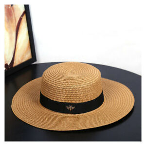 Sun-Hats-Women-Small-Bee-Straw-Hats-Retro-Braided-Hat-Female-Sunshade-Flat-Cap