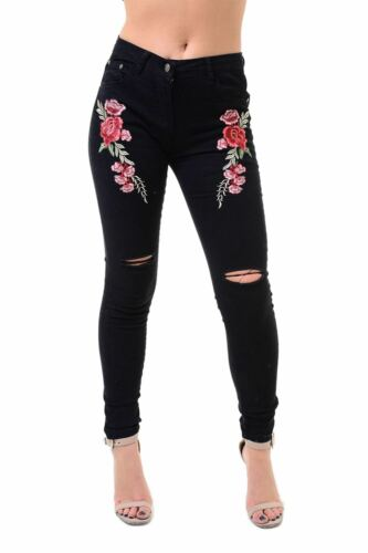 Womens Denim Jeans Ladies Knee Cut Out Rose Embellished Embroidered Faded Pants