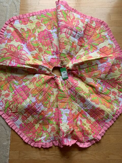 LILLY PULITZER Christmas Tree Skirt Multi Pink Yellow NWT ...