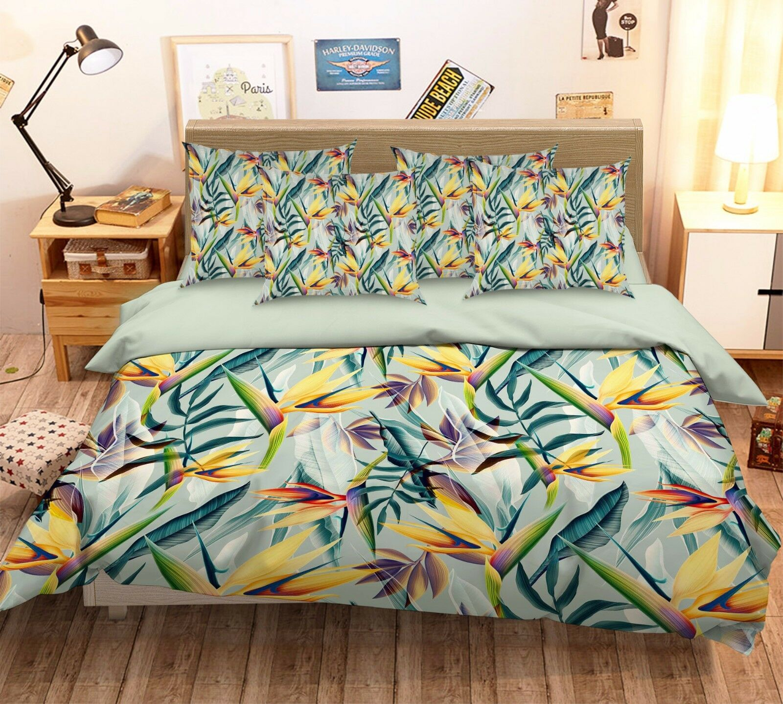 3D Strelitzi 214 Bed Pillowcases Quilt Duvet Cover Set Single Queen King Size AU