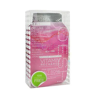 VOESH Pedicure Spa Set 4-in-1 Vitamin Recharge Salt Scrub Masque Massage Lotion