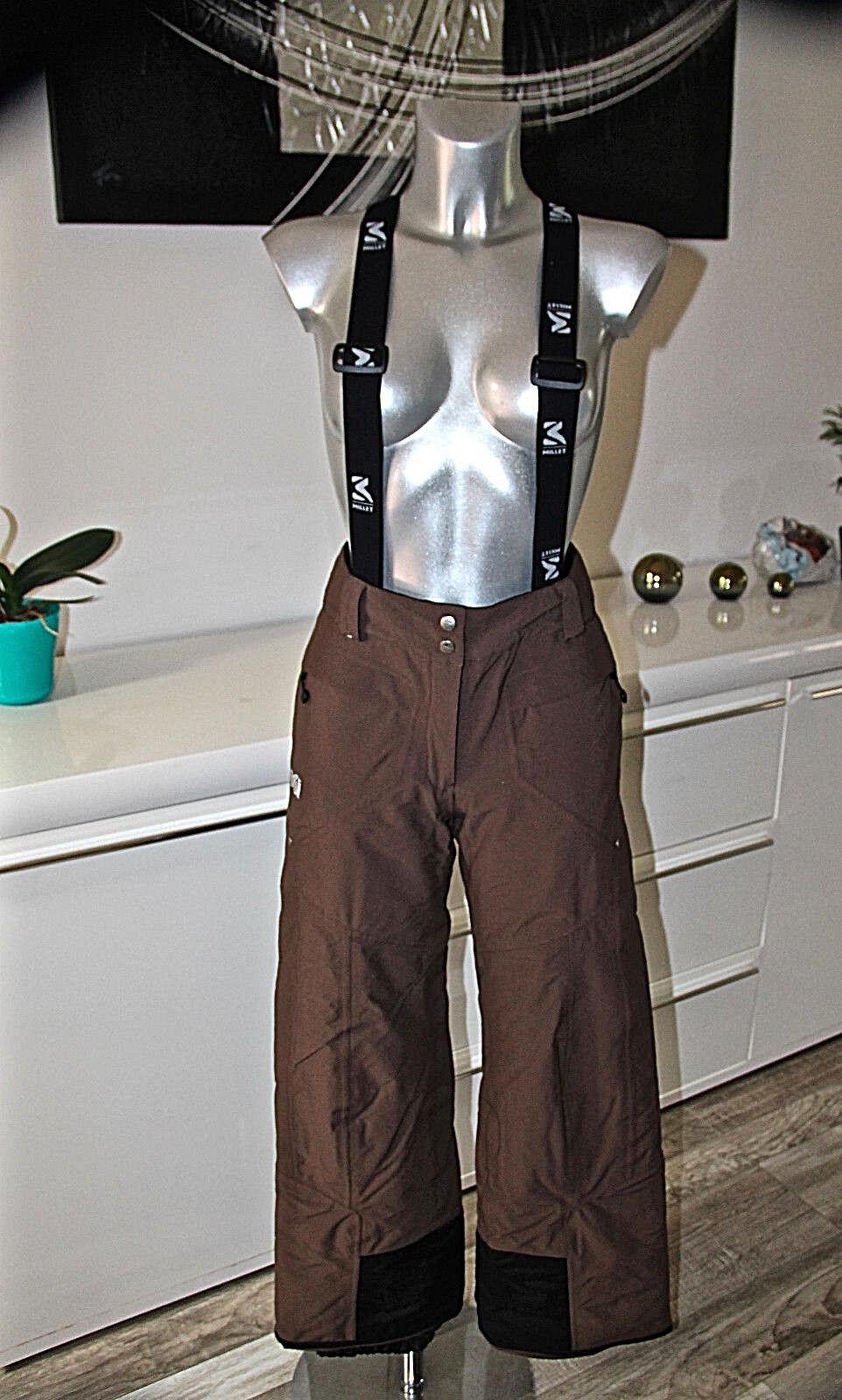 Pantaloni Salopette Sci Snowboard Marroni Gore Tex Donna Millet TAGLIA S 36 Fr