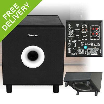 "Skytronic 10"" Active Powered Hi-Fi Subwoofer Home Cinema Bass Bin Speaker 200W"