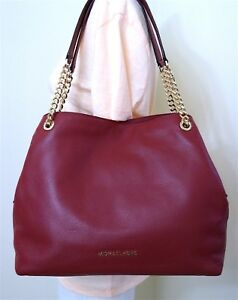 9be1476ef8 Michael Kors Jet Set Large Chain Mulberry Pebble Leather Shoulder ...