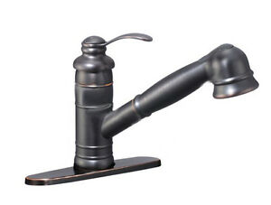Antique Oil Rubbed Bronze Swivel Pull Out Spout Kitchen Bar Sink