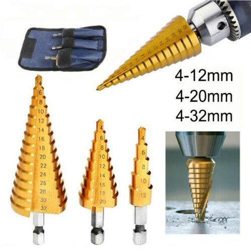 4-12//20//32mm Large Step Cone Titanium Drill Bit Tool Hole Cutter HSS Set