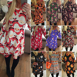 Women-Long-Sleeve-Christmas-Party-Mini-Dress-XMAS-Print-Long-Pullover-Tops-Skirt