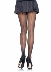 Leg Avenue Cuban Heel Foot Black Sheer Fancy Pantyhose Stockings Tights 9132
