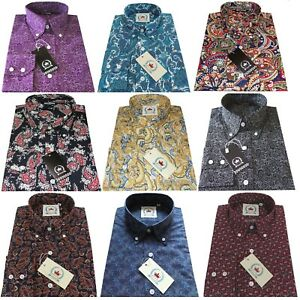 Relco Paisley Men's Long Sleeve Floral Button Down Collar Mod 60's Retro Shirt
