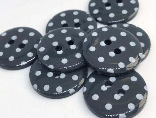 8 di alta qualità POLKADOT pois p1724 Bottoni da Cucire Lavoro a Maglia Craft Taglia 28 18mm