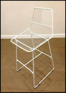 295608f24bf GEO Modern White Metal Wire Kitchen Counter Stool Bar Chair Bend ...