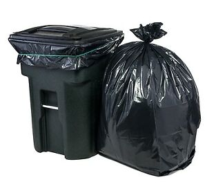 Image Is Loading 95 Gallon Large Capacity Trash Bags Black Plastic
