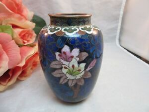 Vtg-brass-cloisonne-enamel-Chinese-4-034-jar-vase-Colorful-flowers-Cobalt-Blue