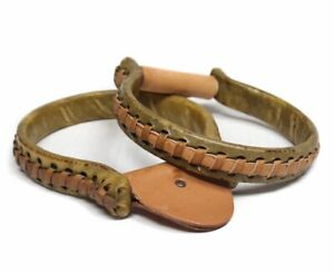 Showman Rawhide Covered Oxbow Stirrup with Leather Stitched Sides FREE SHIPPING!