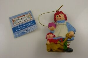 Raggedy-Ann-with-doll-in-wagon-present-Christmas-ornament-Kurt-S-Adler
