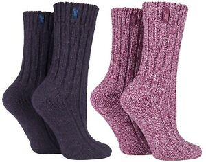 Jeep 2 Pack Ladies Thick Chunky Knitted Wool Hiking Socks for Walking Boots