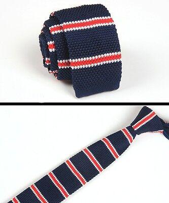 Men/'s Navy Blue Stripe Tie Knit Knitted Necktie Slim Narrow Skinny Woven ZZLD049