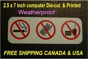 2 NO Smoking Eating drinking cell phone Warning sticker decal Taxi Mall store