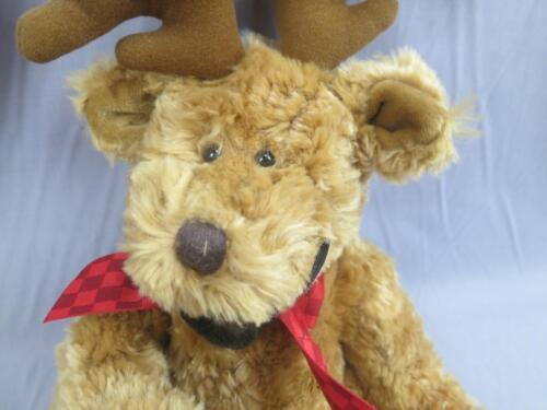 BIG RUSS BROWN TEDDY BEAR REINDEER COSTUME ANTLERS NOSE ORNAMENT PLUSH CHRISTMAS