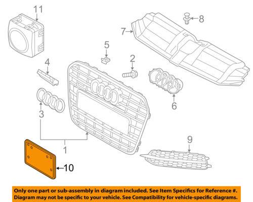 AUDI OEM A6 Quattro Front Bumper Grille Grill-License Plate Mount 4G0807285JT94
