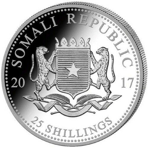 2017 Somalian Elephant 1//4 oz .9999 Silver Coin 25 SHILLINGS AFRICAN ROUND