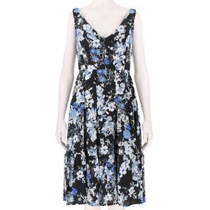 Erdem-Black-Blue-Floral-Patterned-Silk-Sun-Dress-UK10-IT42