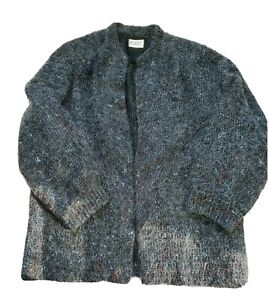 Vintage-Womens-Large-Koret-Black-Mohair-Acrylic-Grandma-Open-Front-Cardigan