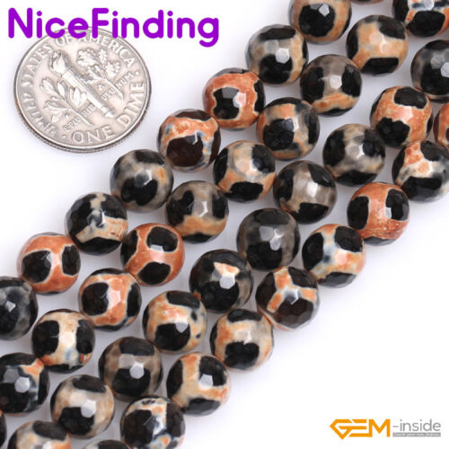 """8mm Round Faceted Fire Agate Gemstone Loose Beads For Jewelry Making Strand 15/"""""""