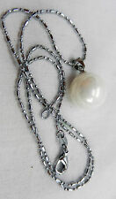 Sterling Silver and Faux Pearl Pendant with Chain Necklace