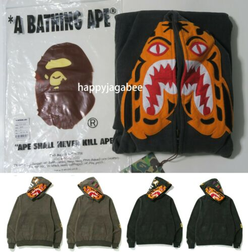 A BATHING APE Men/'s VINTAGE WASH TIGER WIDE PULLOVER HOODIE 2colors New