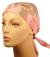 Pink Gray Camo Scarf Headwrap Doo Rag Sweatband Made In Usa Ladies Durag Women