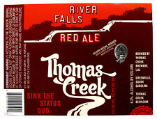 Thomas Creek RIVER FALLS RED ALE beer label SC 12oz Var. #2   No CRVs