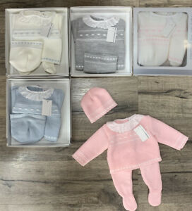 Baby Girls Spanish Romany Knitted Set Bows Jumper Leggings Hat Outfit 0-3 months