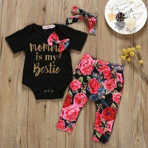 ❤️Newborn Baby Girls Romper Tops Jumpsuit Floral Pants Headband 3pcs//Set Outfits