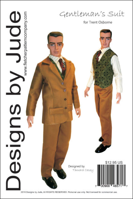 Men\'s Suit Doll Clothes Sewing Pattern for Trent Osborne Odum ...
