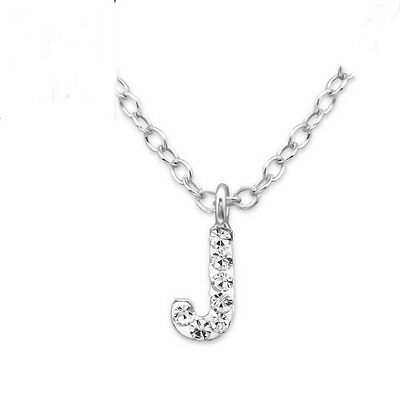 925 Sterling Silver Initial J Clear Crystal Necklace Boxed Girls Boys Kids