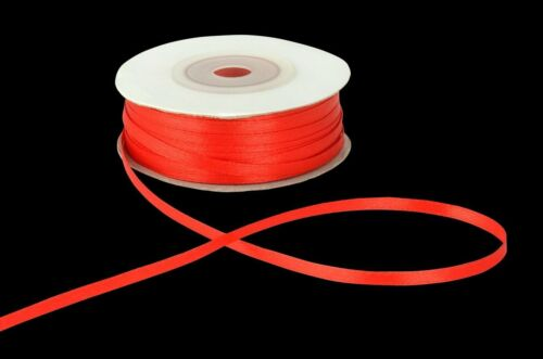 3mm RED Double Sided SATIN RIBBON 3mm 6mm 10mm 25mm Various Colour