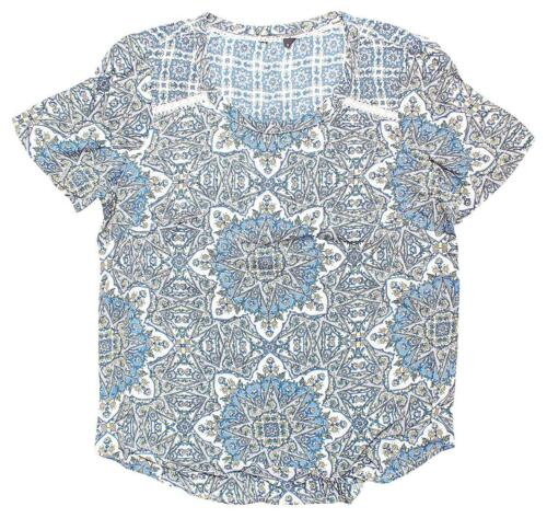 Womens Hippy Mosaic Patchwork Flower Beaded Short Sleeve Top Plus Sizes 8 to 18