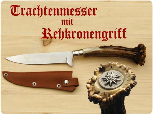 Trachtenmesser Messer Jagdmesser  Rehkrone mit Edelweiß  100er