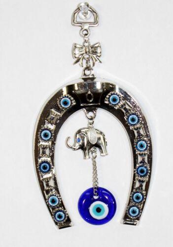Turkish Blue Evil Eye Horseshoe with Elephant and Ribbon Wall Hanging Amulet
