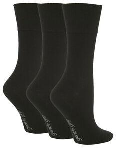 6 PR Ladies Black Non Elastic Socks Diabetic Gentle Grip Soft Top Work UK 4 - 8
