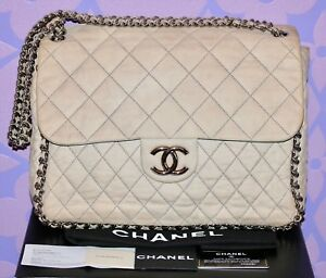 d458a17e591a Chanel CHAIN AROUND MAXI Bag Tan-Beige/Grey SUEDE SHW CAM Super ...