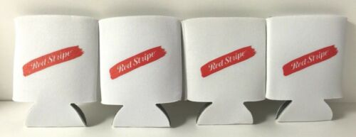 4 Red Stripe Bottle Can Koozie WHITE Jamaica New /& Free Shipping Set of Four