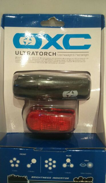 OXC BICYCLE FRONT 5 REAR 7 LED MULTI-MODE LIGHTS FWE 300 LUMEN
