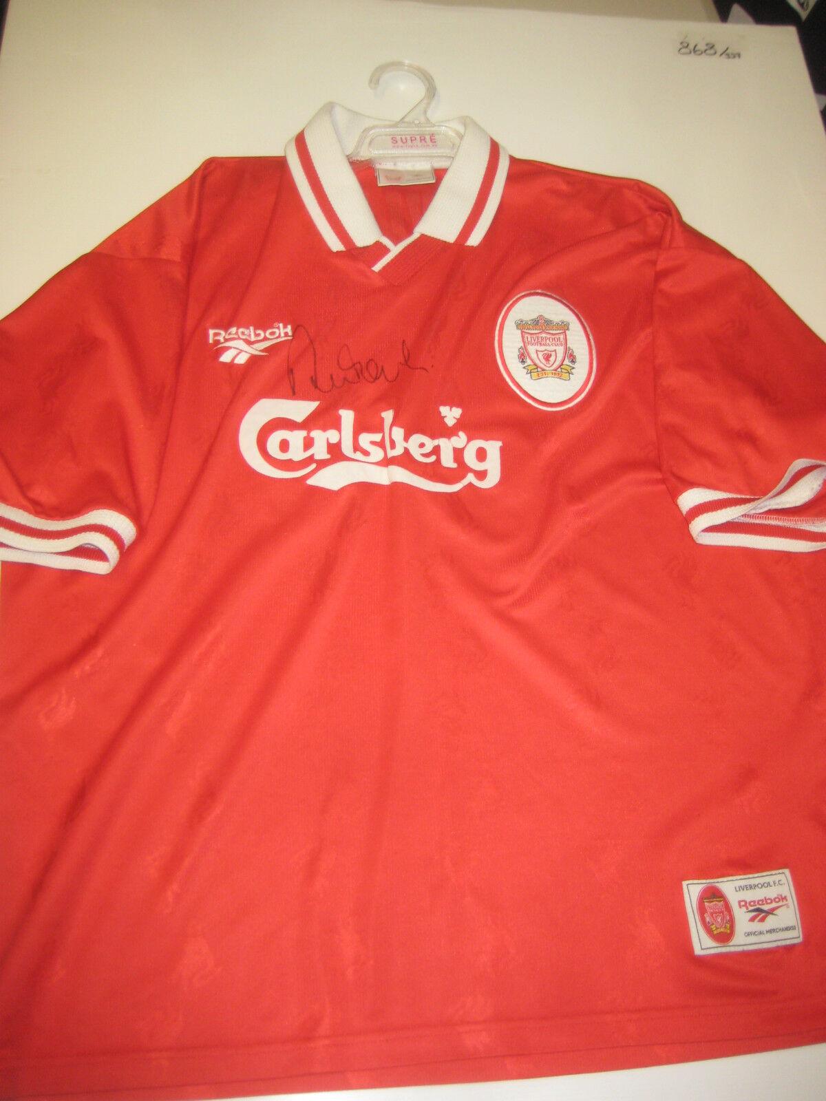 Liverpool-Robbie Fowler Firmado 1995-96 Liverpool Camiseta + + prueba fotográfica C.o.a