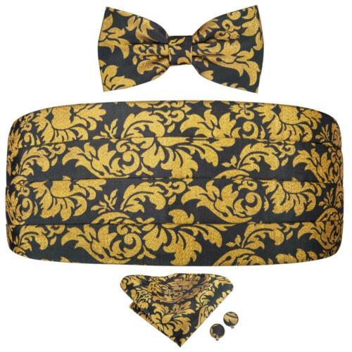 UK Woven Silk Black Gold Floral Cummerbund Bowtie Hanky Set Hot Fashion Party