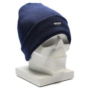 Genuine-Knitted-thermal-winter-hat-thinsulate-insulation-dark-blue-watch-cap-NEW