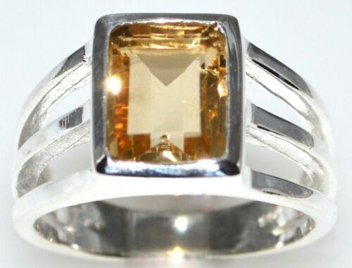 Smaragdschliff Citrin Solitaire Ring 925 Sterling Silber Größen N 60.5 um Z5 15