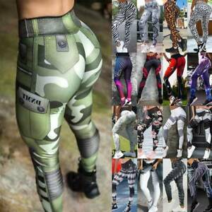 Women-High-Waist-Yoga-Pants-Push-Up-Leggings-Workout-Gym-Ruched-Sports-Trousers