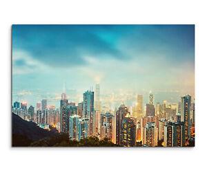HONGKONG PANORAMA 120x40cm 3 BILDER ASIEN LEINWAND BILD